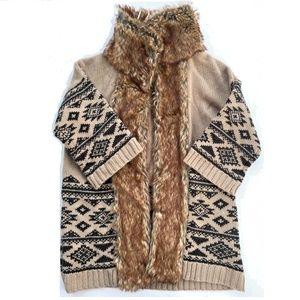 Love 21 Open Front Faux Fur Collar Sweater Aztec S